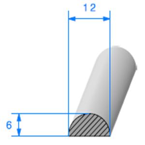 1/2 Rond Cellulaire <br /> [12 mm] <br /> Vendu au Mètre<br />