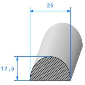 1/2 Rond Cellulaire   [25 mm]   Vendu au Mètre