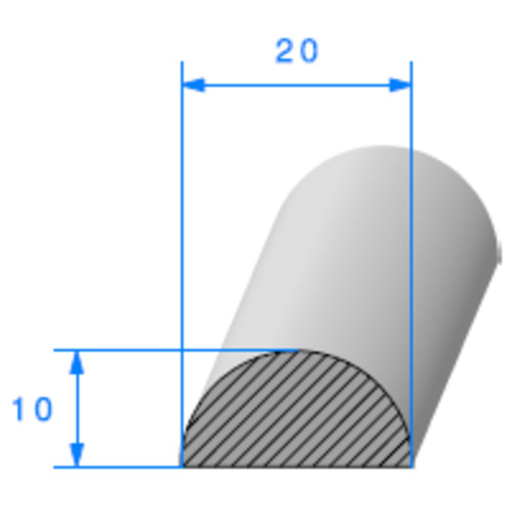1/2 Rond Cellulaire   [20 mm]   Vendu au Mètre