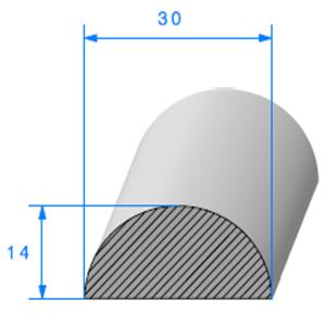 1/2 ROND Cellulaire [30mm]   Vendu au Mètre