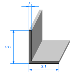 Compact en L   [28 x 21 mm]   Vendu au Mètre