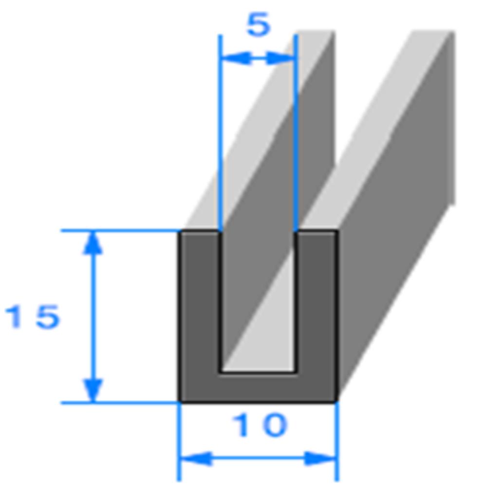 Compact en U   [15 x 10 mm]   [Accroche 5 mm]   Vendu au Mètre