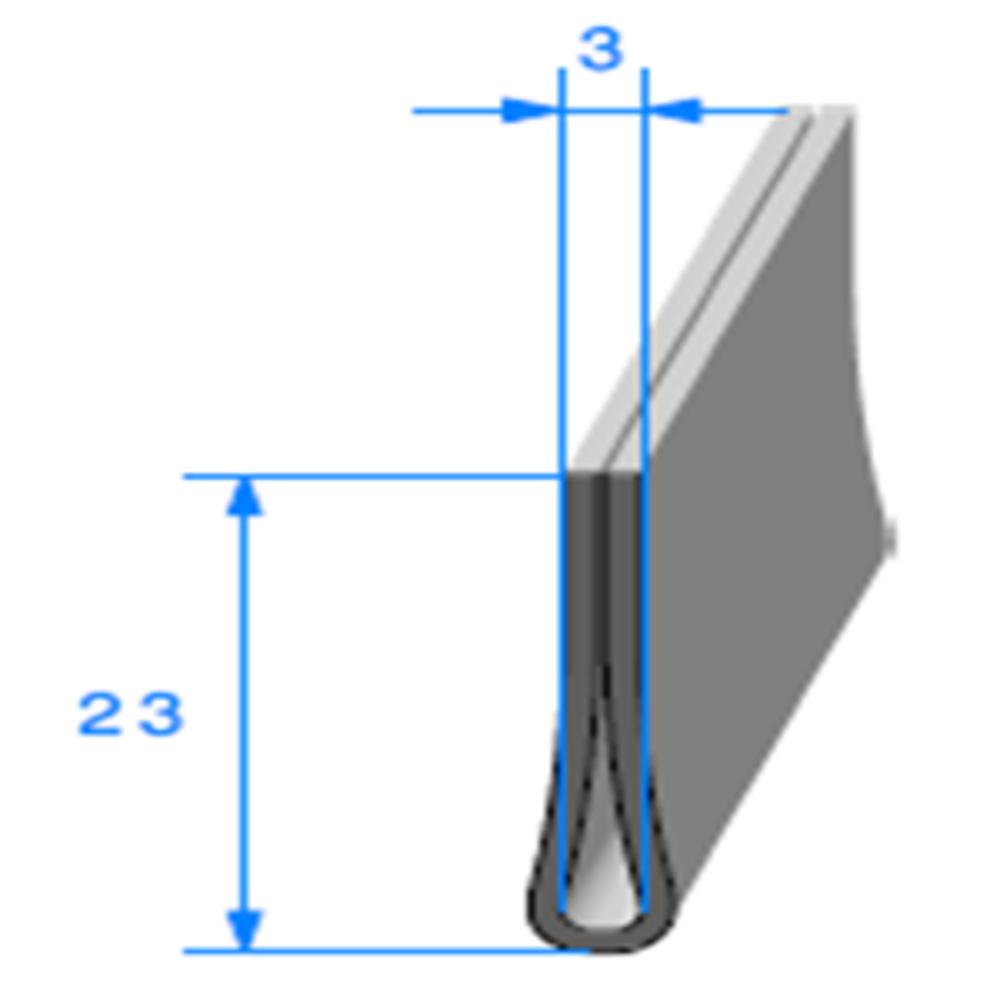 Compact en U   [23 x 5 mm]   [Accroche 3 mm]   Vendu au Mètre