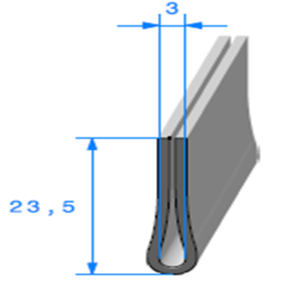 Compact en U   [23,5 x 6 mm]   [Accroche 3 mm]   Vendu au Mètre