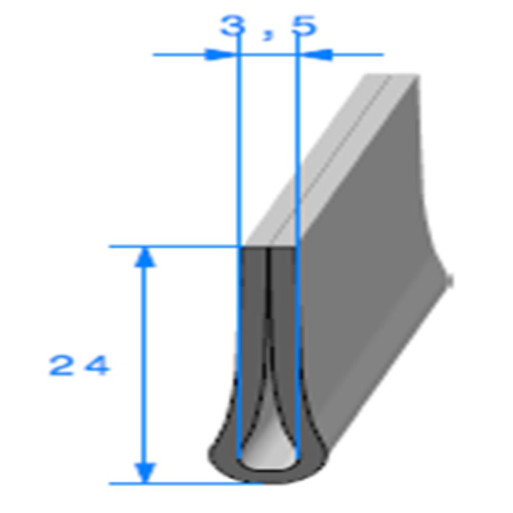 Compact en U   [24 x 7 mm]   [Accroche 3,5 mm]   Vendu au Mètre