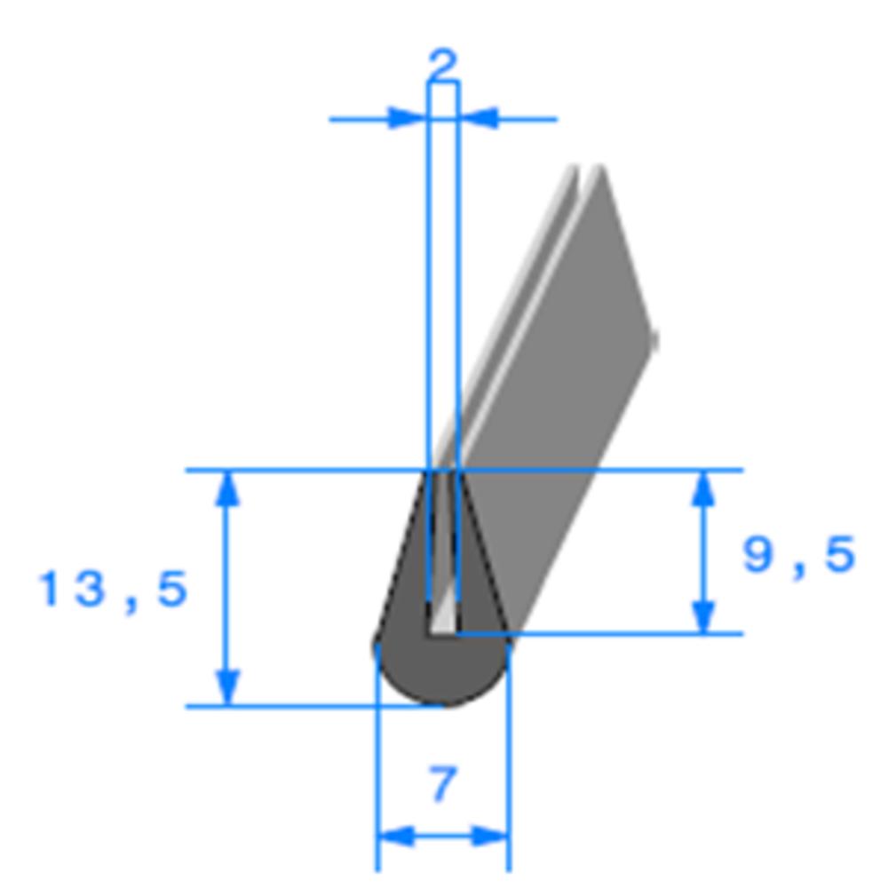 Compact en U   [13,5 x 7 mm]   [Accroche 2 mm]   Vendu au Mètre
