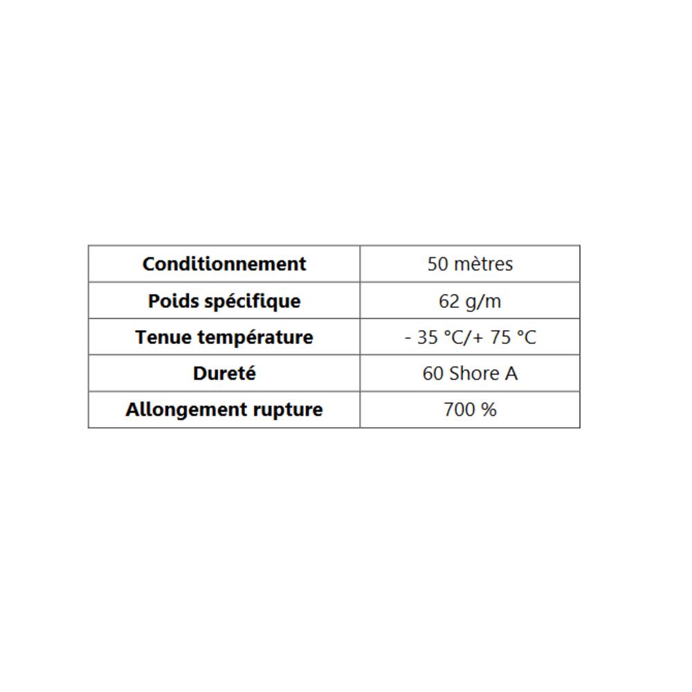TPE Compact en U Gris   [16 x 7 mm]   [Accroche 3 mm]   Vendu au Mètre