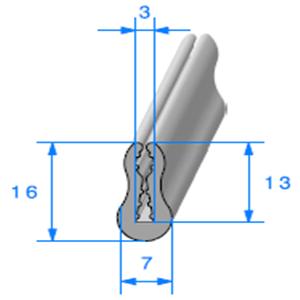 TPE Compact Gris en U 3 mm   Vendu au Mètre