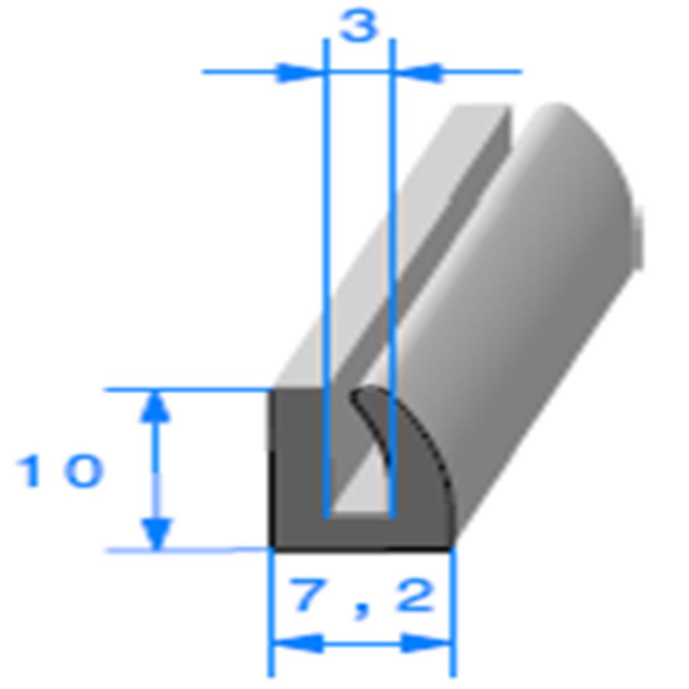 Compact en U   [10 x 7,2 mm]   [Accroche 3 mm]   Vendu au Mètre