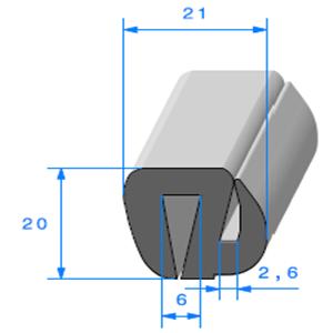 Joint de Fenêtre en S <br /> [21 x 20 mm] <br /> Vendu au Mètre<br />