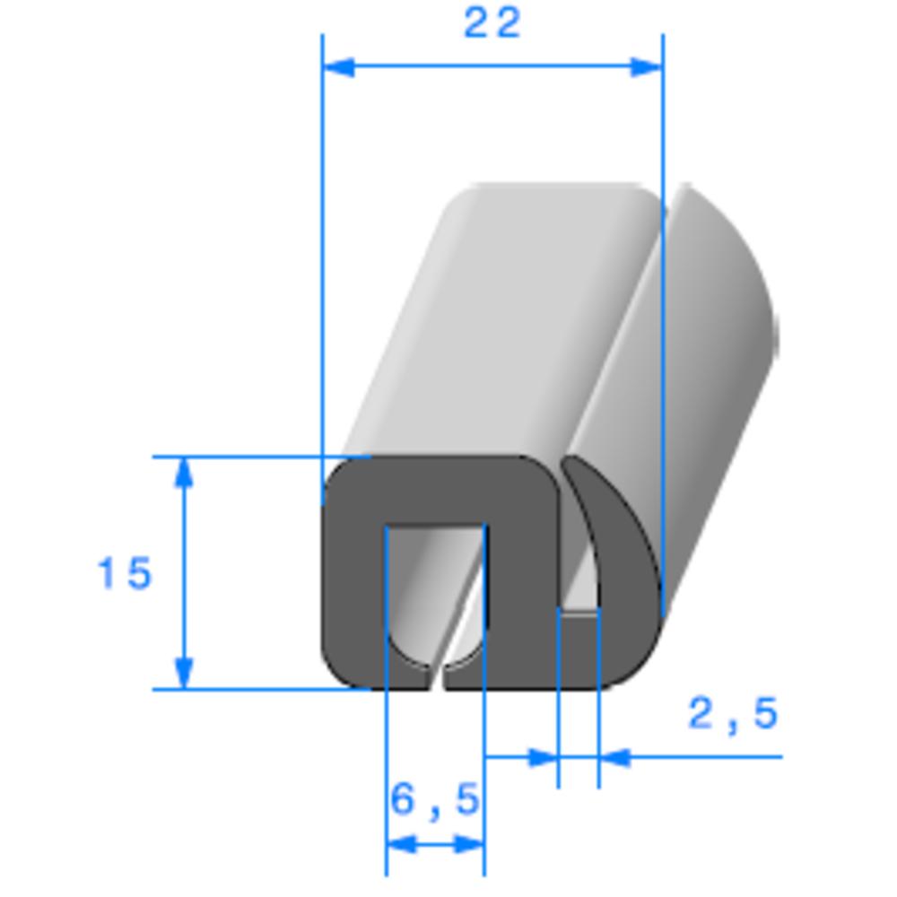 Joint de Fenêtre en S   [15 x 22 mm]   Vendu au Mètre