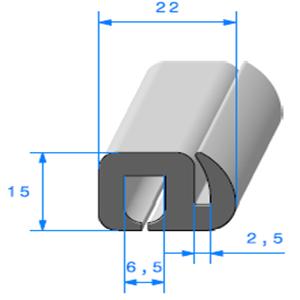 Joint de Fenêtre en S <br /> [15 x 22 mm] <br /> Vendu au Mètre<br />