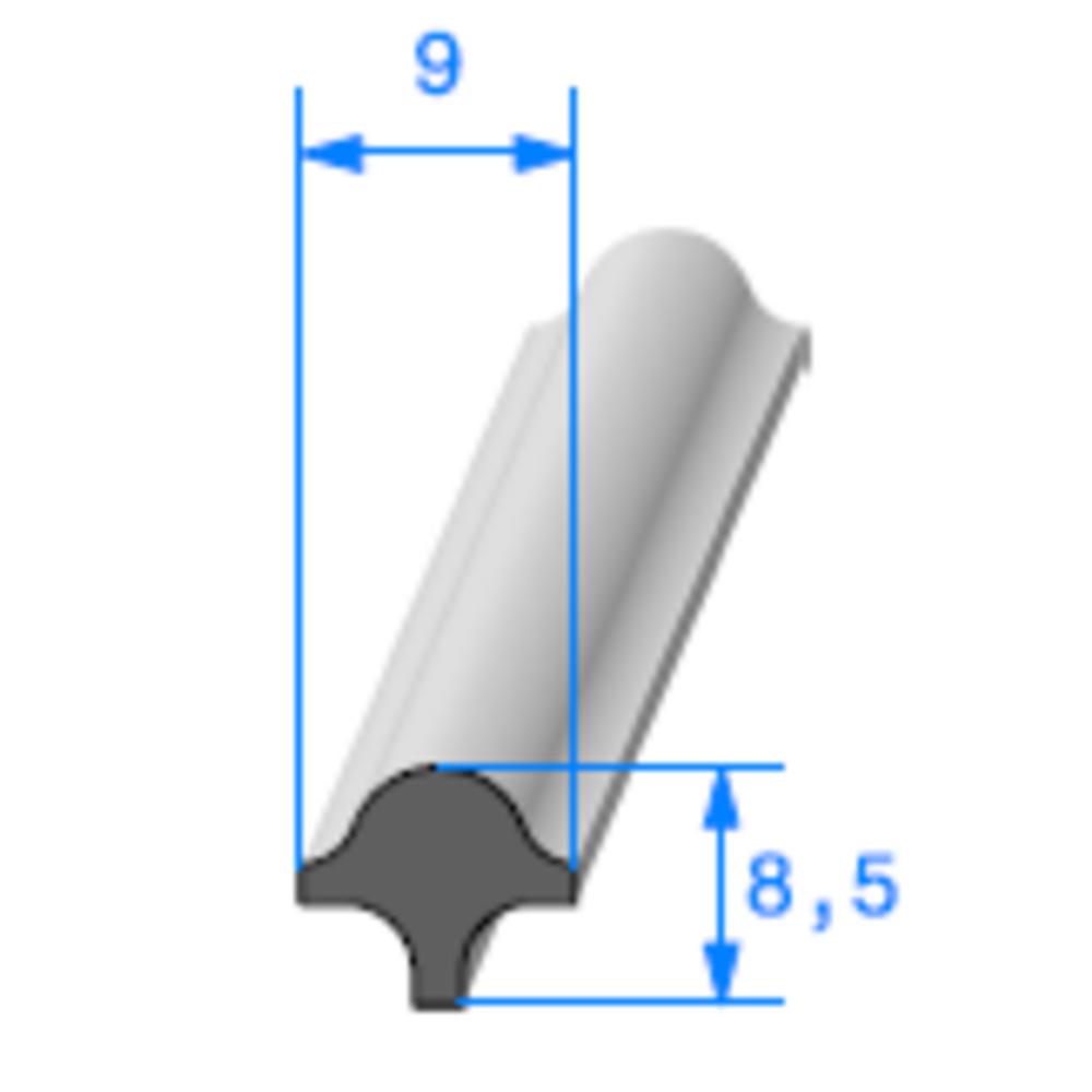 Clé pour Prof Compact Glace   [8,5 x 9 mm]   Vendu au Mètre
