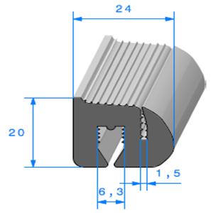 Joint de Fenêtre en S <br /> [20 x 24 mm] <br /> Vendu au Mètre<br />