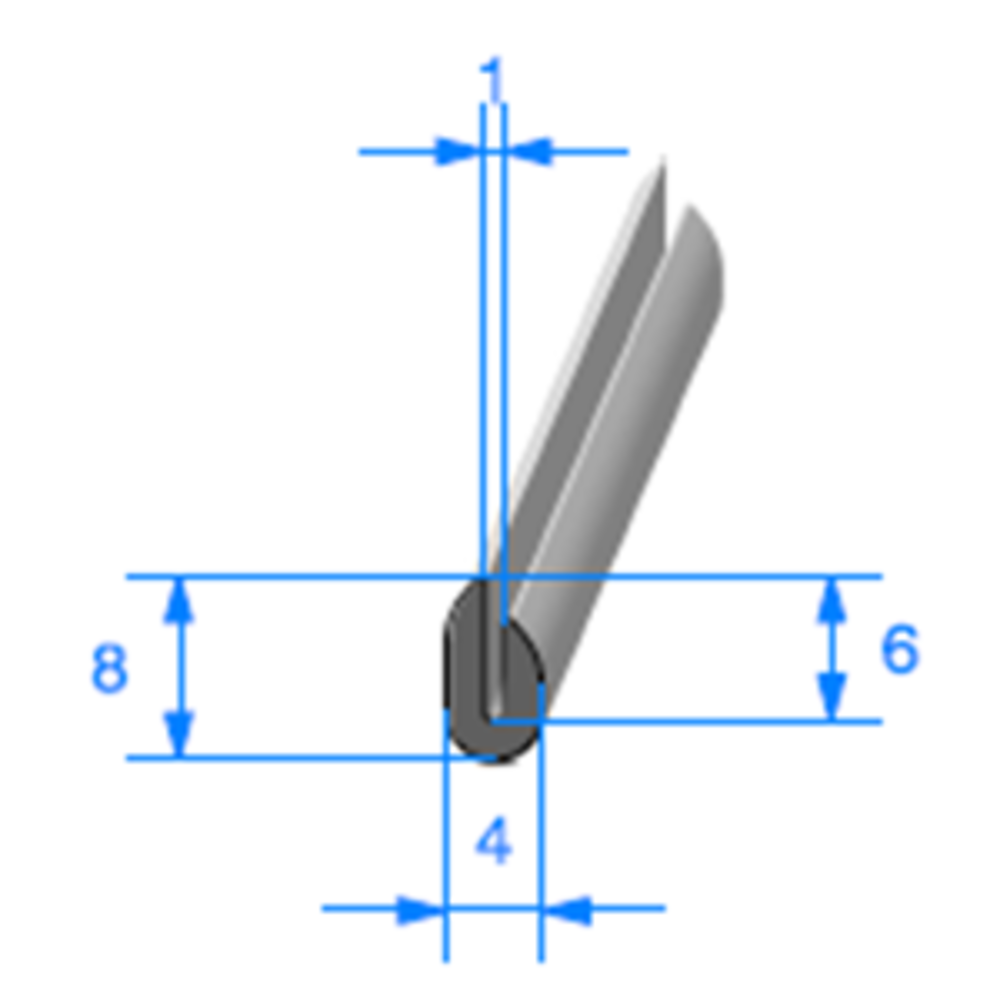 Compact en U   [8 x 4 mm]   [Accroche 1 mm]   Vendu au Mètre