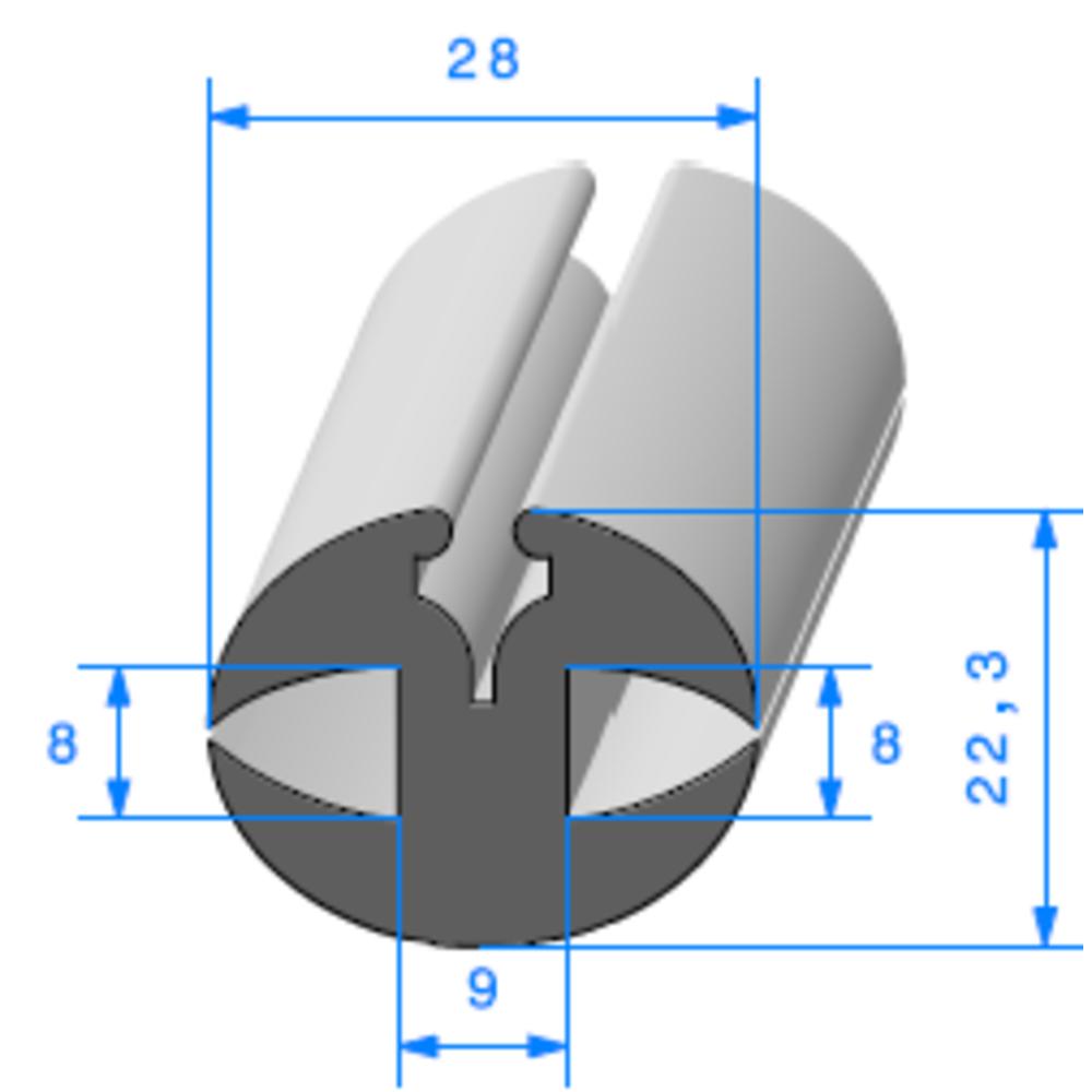 Joint de Fenêtre en H   [22.3 x 28 mm]   Vendu au Mètre