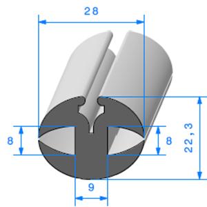 Joint de Fenêtre en H   [22,3 x 28 mm]   Vendu au Mètre