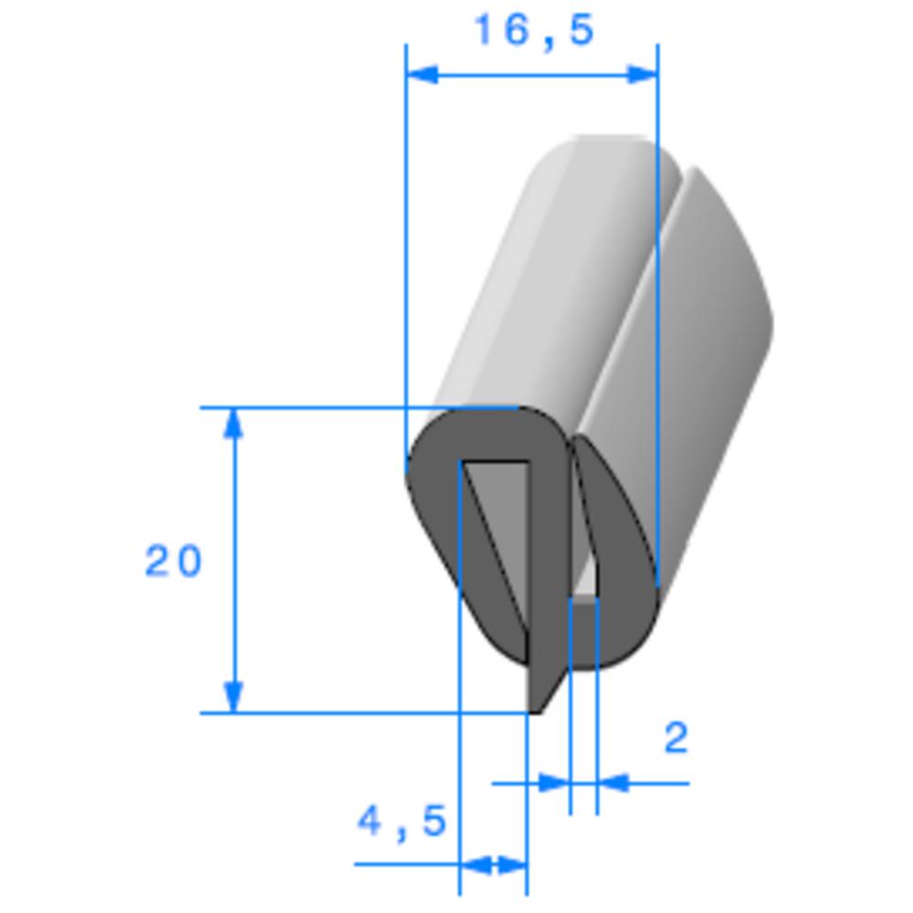 Joint de Fenêtre en S   [20 x 16,5 mm]   Vendu au Mètre