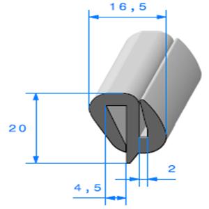 Joint de Fenêtre en S   [20 x 16.5 mm]   Vendu au Mètre