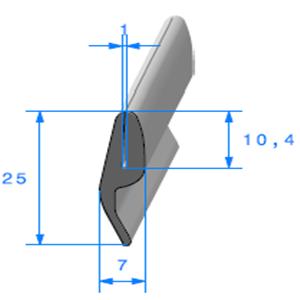 Compact en U + Lang   [25 x 7 mm]   [Accroche 1 mm]   Vendu au Mètre