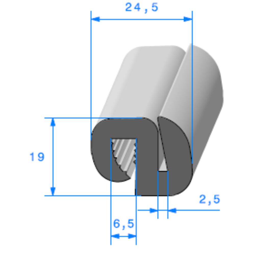 Joint de Fenêtre en S   [19 x 24,5 mm]   Vendu au Mètre