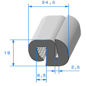 Joint de Fenêtre en S <br /> [19 x 24.5 mm] <br /> Vendu au Mètre<br />
