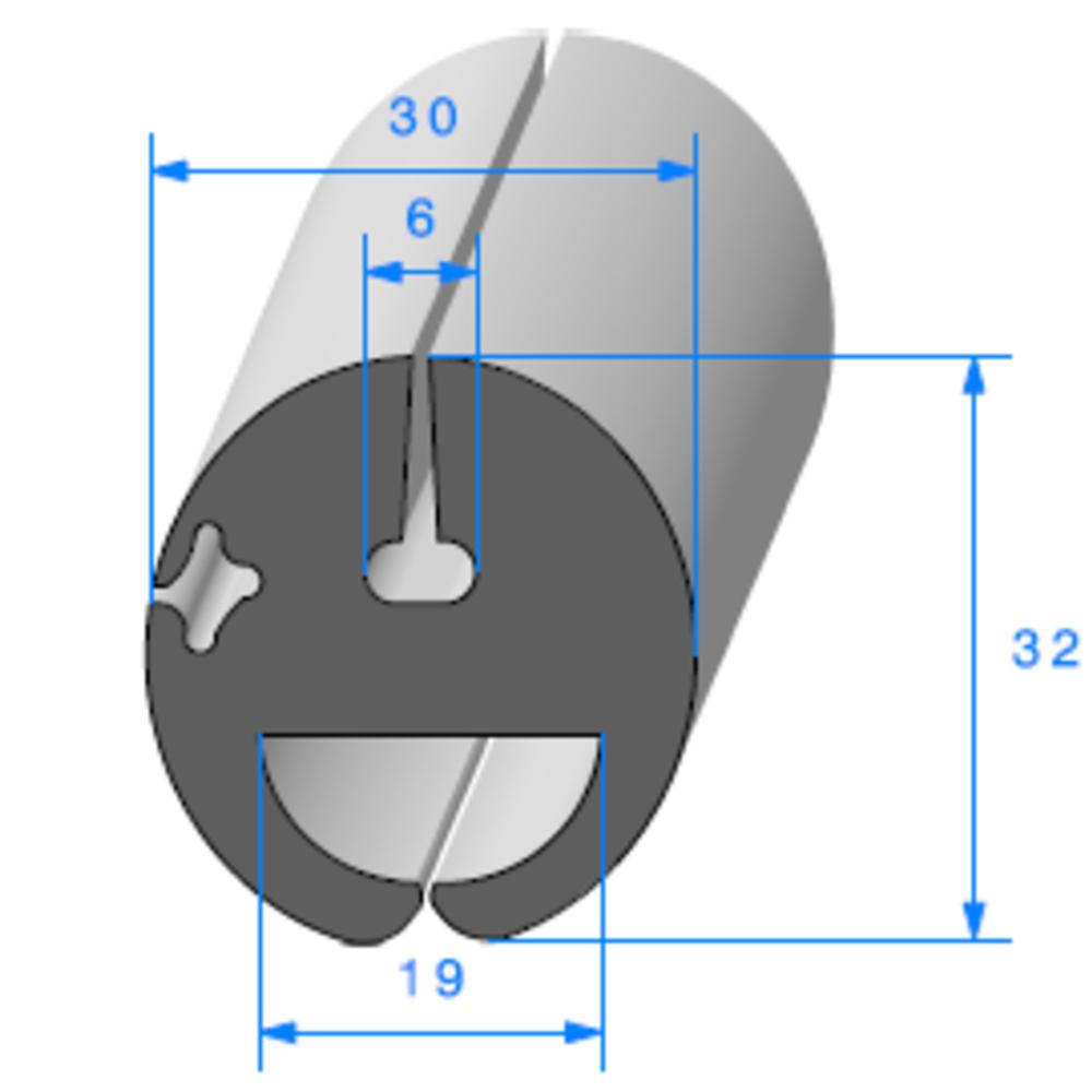 Joint de Fenêtre en H   [32 x 30 mm]   Vendu au Mètre