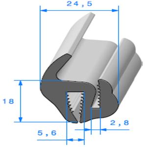 Joint de Fenêtre en S   [18 x 24.5 mm]   Vendu au Mètre
