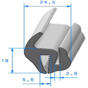 Joint de Fenêtre en S   [18 x 24,5 mm]   Vendu au Mètre