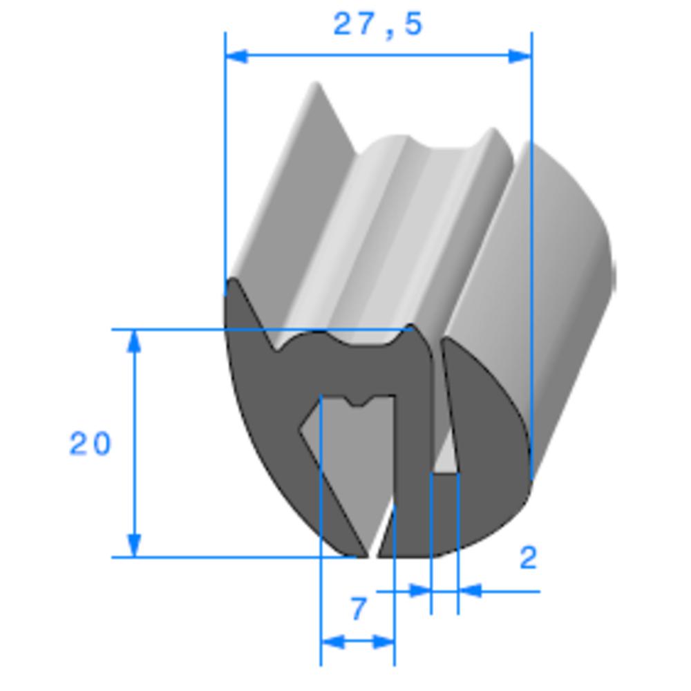 Joint de Fenêtre en S   [20 x 27,5 mm]   Vendu au Mètre