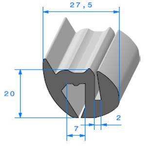 Joint de Fenêtre en S   [20 x 27.5 mm]   Vendu au Mètre