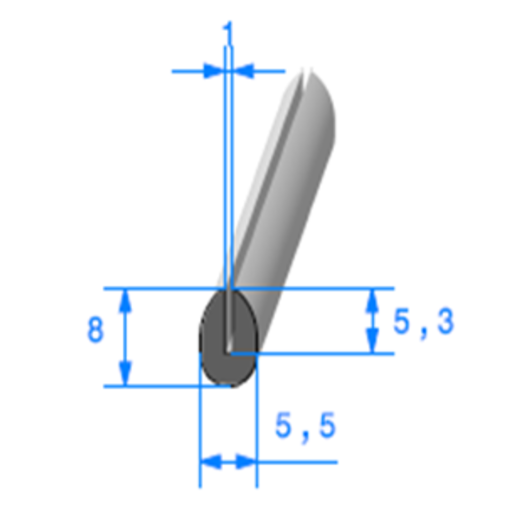 Compact en U   [8 x 5,5 mm]   [Accroche 1 mm]   Vendu au Mètre
