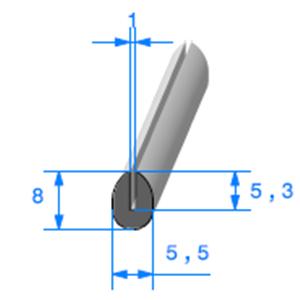 Compact en U <br /> [8 x 5,5 mm] <br /> [Accroche 1 mm] <br /> Vendu au Mètre<br />
