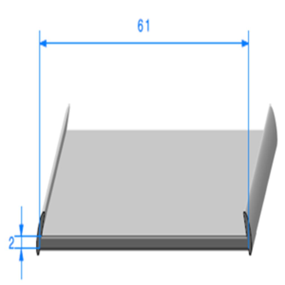 Semelle EPDM   [8 x 61 mm]   Vendu au Mètre
