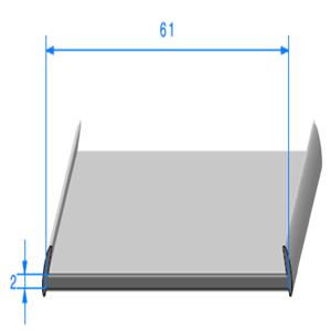 Semelle EPDM <br /> [8 x 61 mm] <br /> Vendu au Mètre<br />