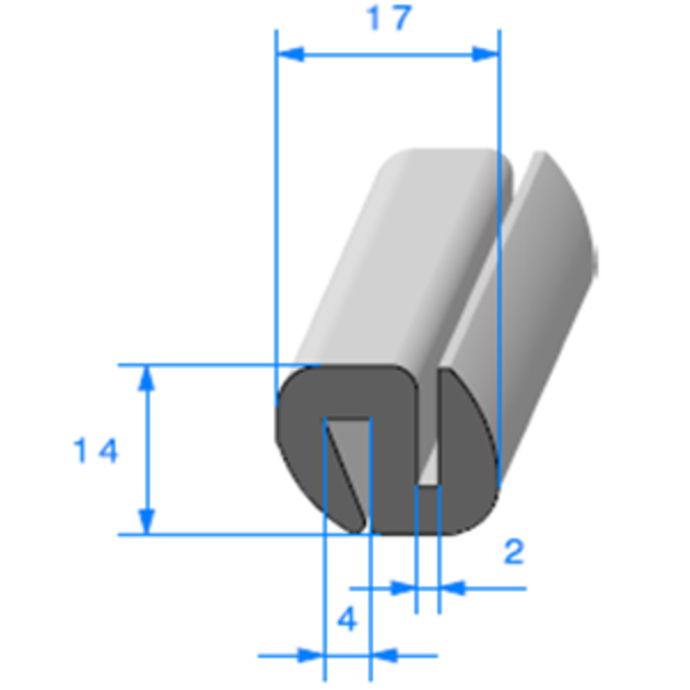 Joint de Fenêtre en S [14x17 mm]   Vendu au Mètre