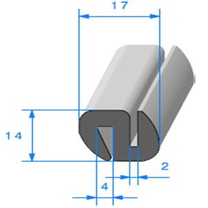 Joint de Fenêtre en S <br /> [14 x 17 mm] <br /> Vendu au Mètre<br />