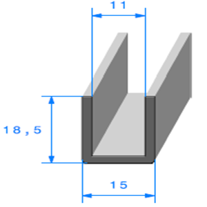 Compact en U   [18,5 x 15 mm]   [Accroche 11 mm]   Vendu au Mètre