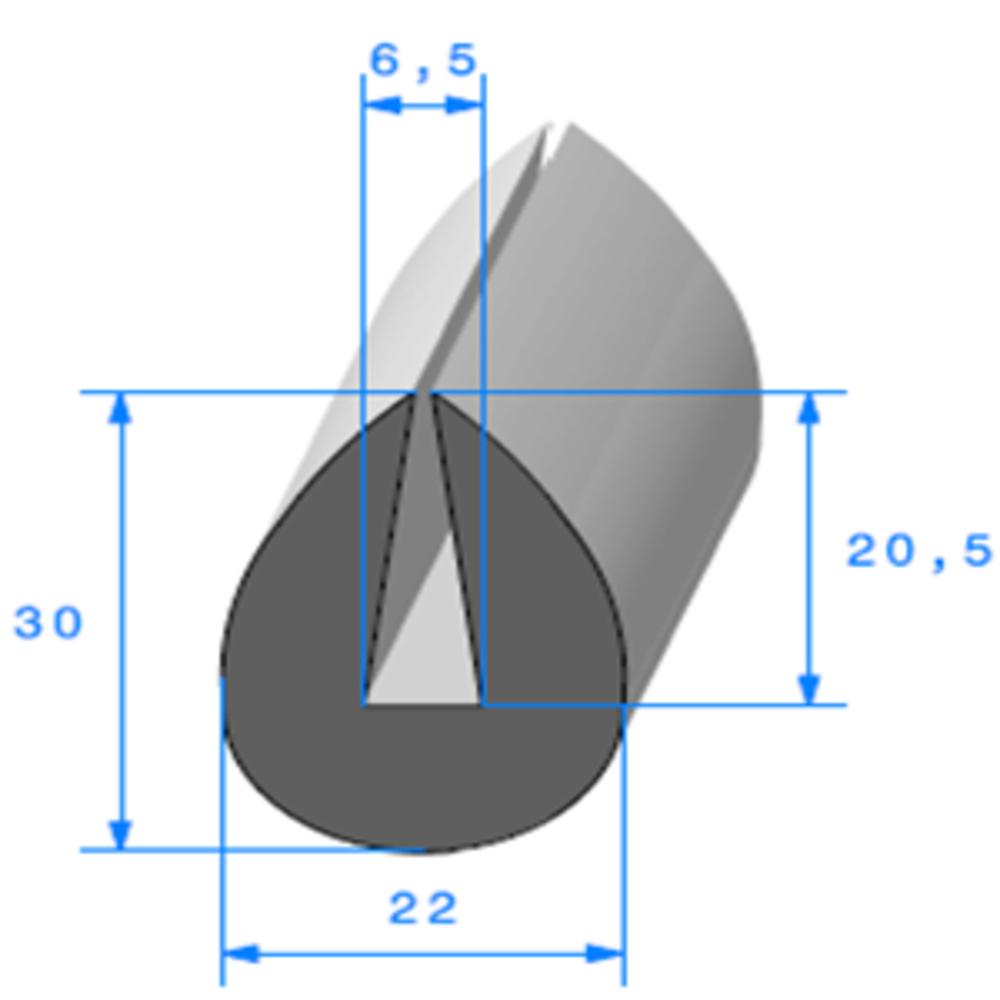 Compact en U   [30 x 22 mm]   [Accroche 6,5 mm]   Vendu au Mètre