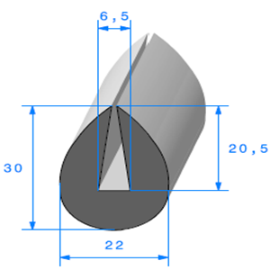 Compact en U   [6.5 mm]   Vendu au Mètre