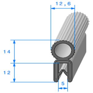 Pince Armé + Bulbe EPDM Compact   [Accroche 1,2 à 2,5 mm]   Vendu au Mètre