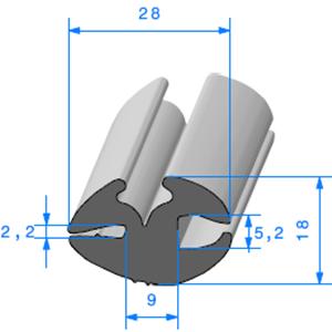 Joint de Fenêtre en H   [18 x 28 mm]   Vendu au Mètre