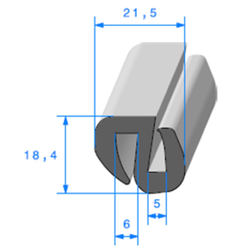 Joint de Fenêtre en S   [18.4 x 21.5 mm]   Vendu au Mètre