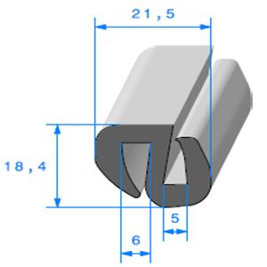 Joint de Fenêtre en S   [18,4 x 21,5 mm]   Vendu au Mètre