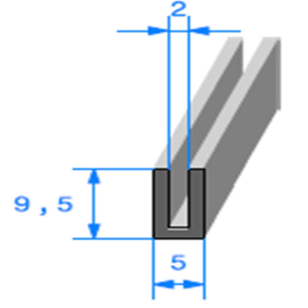 Compact en U   [9,5 x 5 mm]   [Accroche 2 mm]   Vendu au Mètre