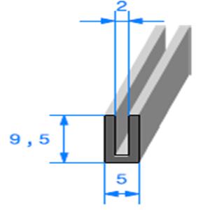 Compact en U 2 mm   Vendu au Mètre