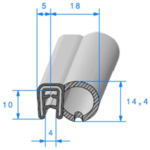 Pince Armé + Bulbe EPDM   [Accroche 2,5 à 4 mm]   Vendu au Mètre