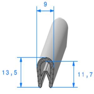 Pince PVC Armé GRIS   [Accroche 1,5 à 3 mm]   Vendu au Mètre