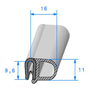 Pince PVC Armé + Bulbe EPDM 1.8/3 mm   Vendu au Mètre