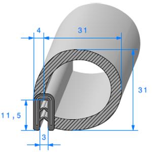 Pince Armé + Bulbe EPDM   [Accroche 1 à 2 mm]   Vendu au Mètre
